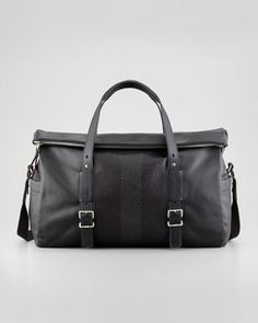 Vivoli Men\'s Perforated Leather Duffle Bag, Black by Bally at Neiman Marcus.