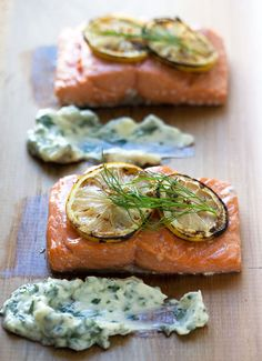 Cedar plank salmon : This simple and delicious preparation of cedar planked salmon is finished with a luscious herb butter. Fish Recipes, Seafood Recipes, Cooking Recipes, Dinner Recipes, Dinner Ideas, Chicken Recipes, Vegetarian Recipes, Recipies, Dessert Recipes