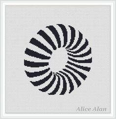 Cross Stitch Pattern Abstract figure with optical effect Torus monochrome…