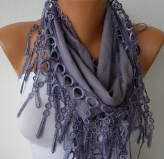 Gray  Scarf Cotton Scarf Headband Woman Necklace Cowl By Fatwoman, $21.00