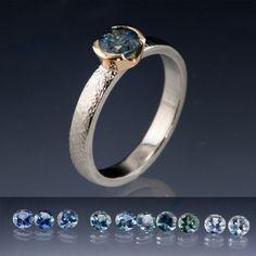 Blue/Teal Fair Trade Montana Sapphire Gold Semi-Bezel Engagement Ring | Nodeform