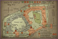 """Map of Colditz Castle. It gained international fame as a prisoner-of-war camp during World War II for """"incorrigible"""" Allied officers who had repeatedly escaped from other camps."""