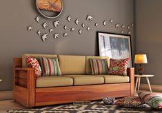 Buy Marriott 3 Seater Wooden Sofa (Honey Finish) Online in India - Wooden Street Living Room Sofa Design, Home Room Design, Living Room Designs, Furniture Sofa Set, Living Room Furniture, Living Room Decor, Living Rooms, Wooden Street, Wooden Sofa Set