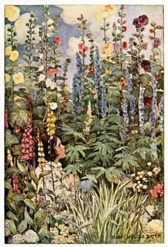 """""""The Flowers"""" ~ Illustration by Jessie Willcox Smith (1905)  From A Child's Garden of Verses by Robert Louis Stevenson, Illustrations by Jessie Willcox Smith (1905)"""