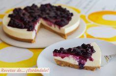 Receta de tarta de queso fria con arandanos sin horno