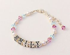 Personalised girls daughter purple star charm bracelet all sizes