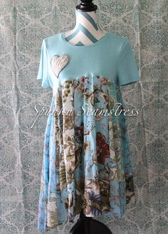 Blue+Shabby+Chic+Romantic+Country+Boho+Tunic+Dress++Bohemian
