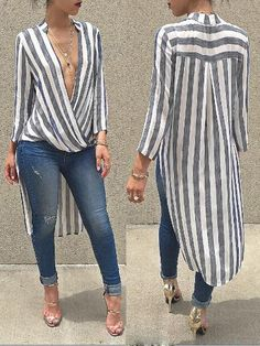 Stripe Long Back Plunge Blouses Shirt Dress (S/M/L/XL) $26.99