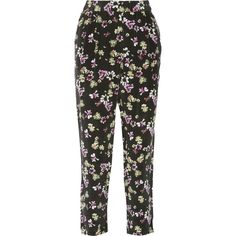 Equipment Hadley floral-print silk straight-leg pants ($130) ❤ liked on Polyvore featuring pants, black, silk pants, multi colored pants, elastic waistband pants, floral pants and stretch waist pants