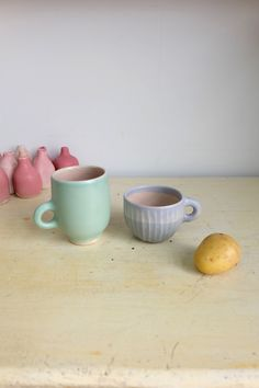 One-of-a-kind carefully crafted handmade ceramic mugs inspired by topology: a donut and a mug are the one and the same. Ceramic Mugs, Donuts, Ceramics, Handmade Ceramic, Tableware, Crafts, Dinnerware, Pottery Cafe, Pottery Mugs