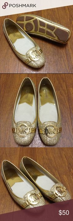 MICHAEL Michael Kors Fulton Moc in glitter gold Beautiful! Classic MK shoe in glitter gold, very minor wear! Price flexible, make an offer! MICHAEL Michael Kors Shoes