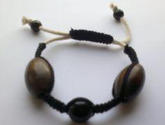 A bracelet with wooden motives