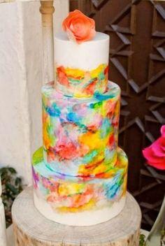 30 Creative And Lovely Hand Painted Wedding Cakes | Weddingomania