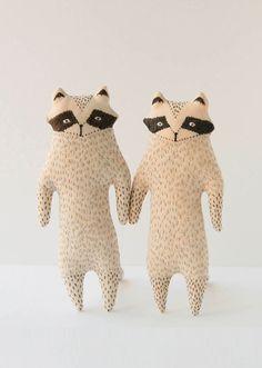 Gray Raccoon Toy Woodland Creature Soft Raccoon Plush