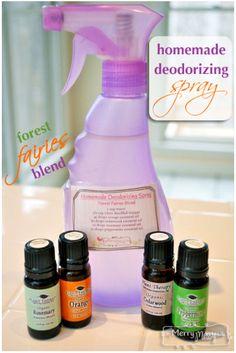 1 C Water, 1/2 C Vinegar, 1 Drop of Essential Oil.  http://mymerrymessylife.com/2013/03/homemade-deodorizing-spray.html