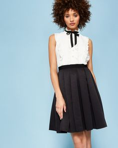 Pleated neck tie dress - Black | Dresses | Ted Baker NEU