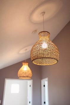 wicker shade lights from West Elm