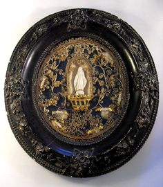 large french antique reliquary, relics of 8 saints, gilt paperolles 19th century