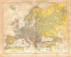 1885 Original Antique Precipitation Map by CabinetOfTreasures