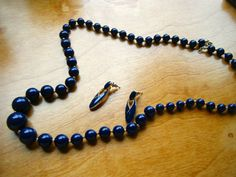 Vintage Navy Blue Necklace With Bonus Earrings by gammiannes, $20.00