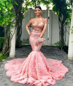 0e2189867e9 Fancy Rose Gold Sequin and Pink 3D Rose Mermaid Long Sleeve Prom Dress
