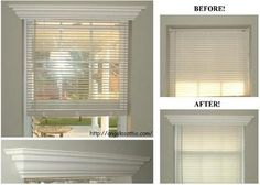 Add crown molding to the top of a window frame for a simple face lift that hides the blinds. Window Crown Moldings, Craftsman Interior, Home Upgrades, Apartment Living, Living Room, Home Renovation, My Dream Home, Home Projects, Decoration