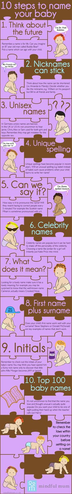 Baby names - How to choose a name for your baby.  Helpful hints here.