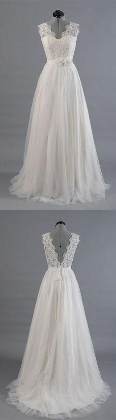 Princess wedding dresses,A Line V Neck Empire Waist White Lace Wedding Dresses,lace bridal dresses, backless wedding dresses