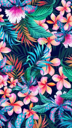 Wallpaper Samsung Galaxy - Pattern Floral Art Decoration background - Wallpapers World Tropical Wallpaper, Summer Wallpaper, Cute Wallpaper Backgrounds, Flower Backgrounds, Flower Wallpaper, Cute Wallpapers, Wallpaper Art, Floral Wallpapers, Macbook Wallpaper