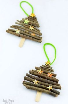 45 DIY Christmas Ornaments That Will Make Your Tree Truly One of a Kind 42 Homemade DIY Christmas Ornament Craft Ideas - How To Make Holiday Ornaments 50 Diy Christmas Ornaments, Stick Christmas Tree, Wooden Christmas Decorations, Elegant Christmas, Christmas Wood, Christmas Crafts For Kids, Simple Christmas, Homemade Christmas, Christmas Projects