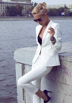 Klasik Beyaz Ceket Kombini
