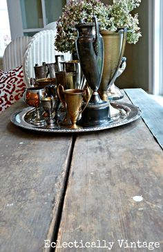 vintage wallpapering table