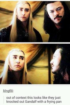 Loved the interactions between Thranduil and Bard, they had chemistry. I mean, Thranduil practically eye rolled at Bard when Gandalf was being his dramatic self! Jrr Tolkien, Narnia, Midle Earth, Por Tras Das Cameras, O Hobbit, Hobbit Funny, Hobbit Humor, Hobbit Dwarves, Hobbit Films