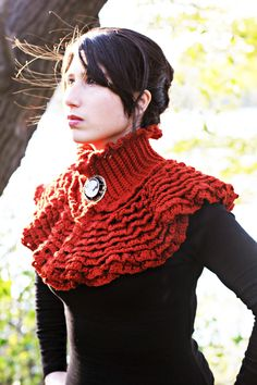 CROCHET PATTERN: Ruffled Victorian Cowl - Permission to Sell Finished Product by bonitapatterns on Etsy https://www.etsy.com/listing/121252754/crochet-pattern-ruffled-victorian-cowl