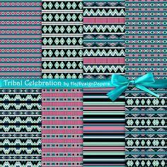 "Tribal digital paper : ""Tribal Celebration"", Aztec digital paper, tribal patterns, native american, tribal scrapbook paper, aztec pattern"