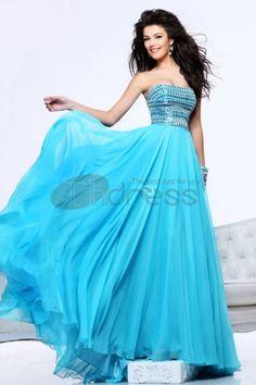 Prom Dresses 2013-Strapless Chiffon Rhinestone Prom Dresses