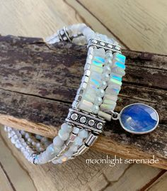 Your place to buy and sell all things handmade Opal Necklace, Pearl Bracelet, Xmas Gifts For Her, Expensive Stones, Bohemian Bracelets, Rainbow Moonstone, Silver Beads, Turquoise Bracelet, Boho Chic