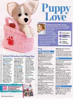 Puppy love dog in a bag toy knitting pattern – pages from a magazine – BuzzTMZ Simply Knitting, Knitting For Charity, Knitting For Kids, Free Knitting, Knitting Projects, Knitting Toys, Baby Knitting Patterns, Christmas Knitting Patterns, Knitted Dolls