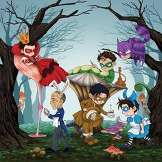 Batman in Wonderland by ~eh7150 This is sooooo cute! Timmy is Alice(( cute!!!)) Dick's the Mad hatter, Bruce is the cat(( forgot the name, sorry. ))) Alfred is the white rabbit, Jason is the caterpillar and Damian is the queen ((king) of hearts :3 so cute.