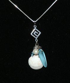 Pendant - sea glass, shell, pearl, teal crystal and Greek key link. C.Nicholas 2013