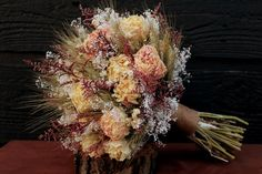 Romantic Rustic Wedding Bouquet Large Bridal by SmokyMtnWoodcrafts, $79.00