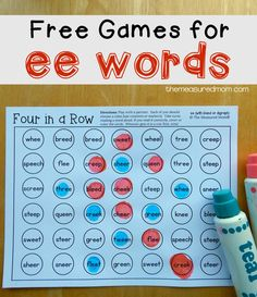 """It's time for more free reading games! I've been creating a huge variety ofgames and activities as I help my Five master common phonics patterns. Today I'm sharing his favorite game – Four in a Row. This time we're working on """"ee"""" words. As far as phonics patterns go, """"ee"""" is one of the easier ones to remember. For the first game board, we took turns reading """"ee"""" words and...Read More »"""