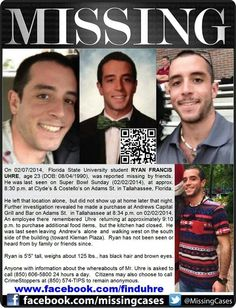 2/7/14: Ryan Francis Uhre, 23, missing from Florida State University.