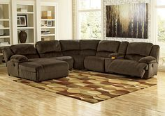This power reclining sectional sofa is a great way to fill a large room with comfortable seating for the whole family. Description from samsfurniture.com. I searched for this on bing.com/images