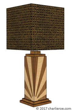 TDS - The Design Service - New Art Deco Skyscraper style stepped marquetry veneered table lamp with Rising Sun design