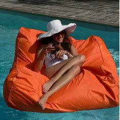 sit in pool couleur orange sofa piscine : matelas fauteuils bouee : sit in.