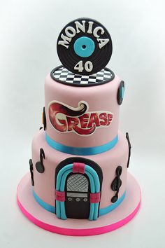 Need a birthday cake for a party in Brussels? Need a corporate cake? We will design your cake with pleasure. Call us on 483 69 09 63 to book your cake. Grease Themed Parties, Grease Party, Girly Cakes, Fancy Cakes, Fondant Cakes, Cupcake Cakes, Elvis Cakes, Music Cakes, Mom Cake