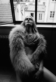 French Revue de Modes Fall/Winter 2013. Sexy implied look on location. Black and white model fashion photography. Great shadowing with natural light.