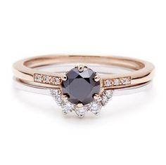 Anna Sheffield black diamond engagement ring set