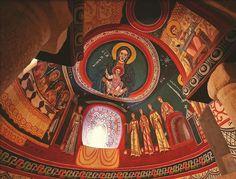 Museo Nacional de Arte de Cataluña (MNAC)    Barcelona. Pintura en fresco, inspirada de la concepción plana de la pintura, la carencia de movimiento o la falta de perspectiva que tenía el arte bizantino que cubría sus iglesias.